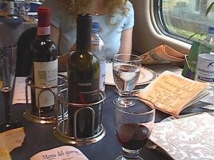 drinking italian wine on the way to Milan