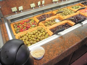 a Whole Foods olive bar