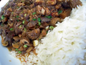 vegetarian Szechuan eggplant over rice