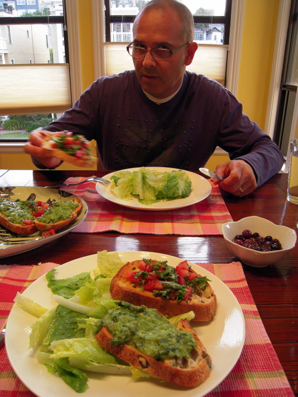 dining on fava and tomato/basil topped bruschetta