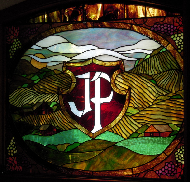 romantic stained glass window in Pedroncelli tasting room