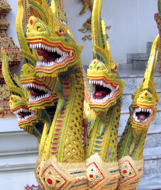 Thai temple dragon guardians