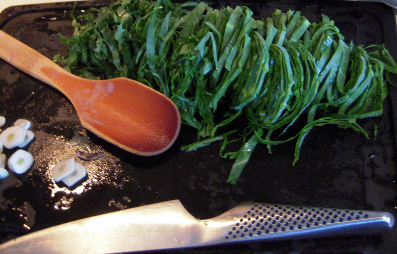 preparing collard greens