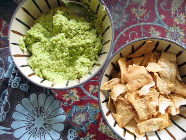 edamame miso party dip with baked pita chips