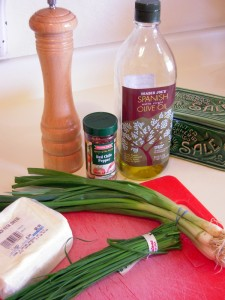 some ingredients for spring onion, chive and feta pasta