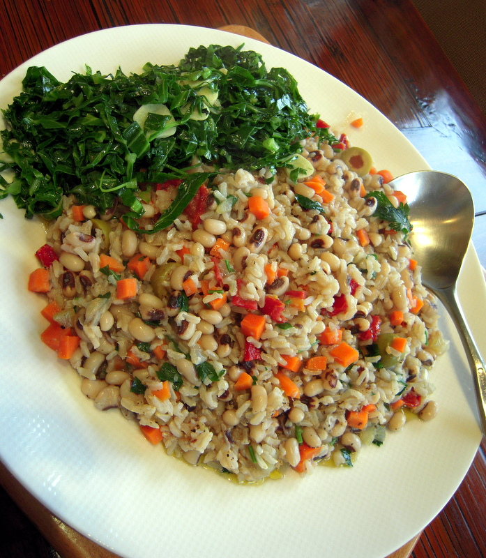 brown rice, black-eyed peas and collard greens
