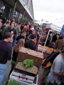 farmer's market crowd on overcast day