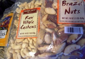 pepitas, cashews and Brazil nuts