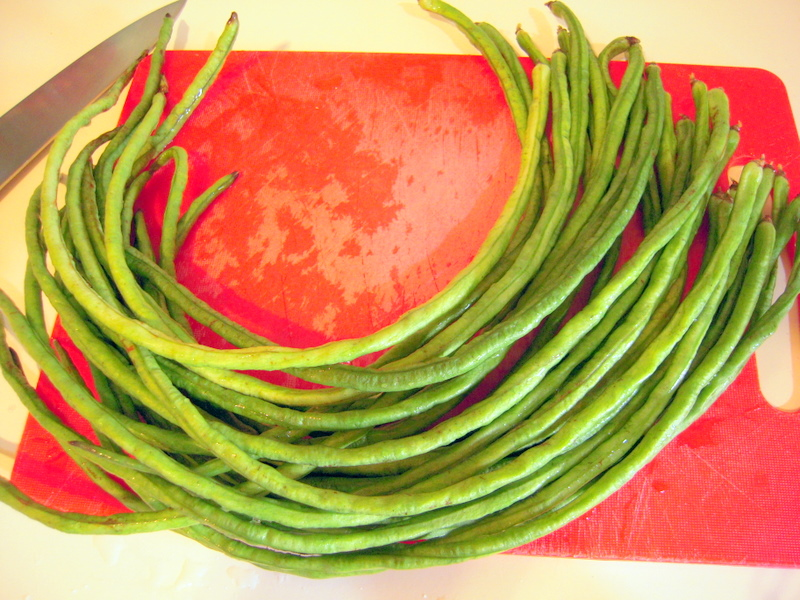 Chinese long beans ready to be prepared