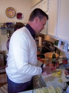 Slicing lemons for lemony Greek potatoes