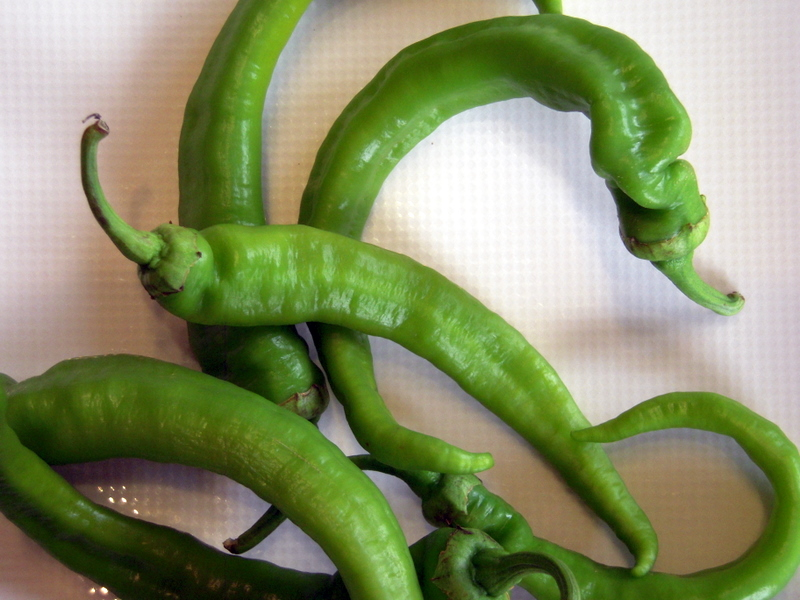 fresh green cayenne peppers