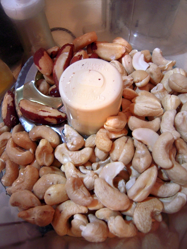 cashew and Brazil nuts ready to blend