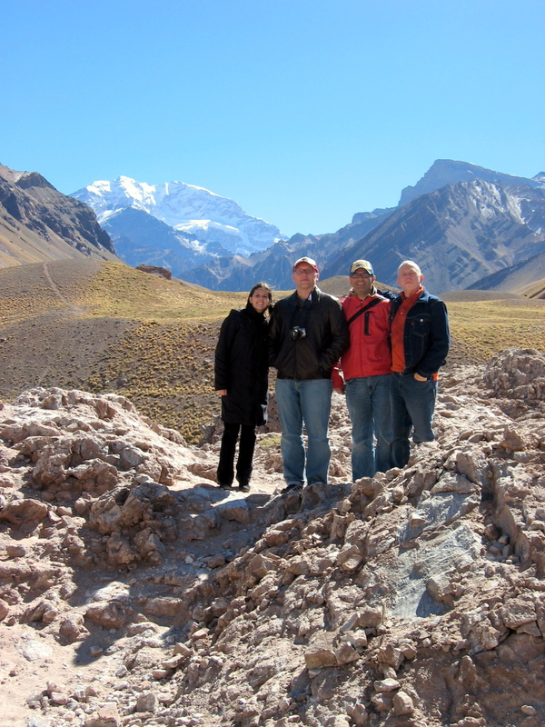 posing in the Andes in front of Aconcagua