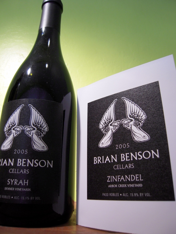 Brian Benson 2005 Syrah Denner Vineyards with hand written note