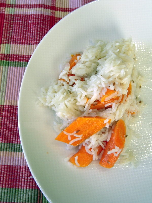 finished cumin carrot basmati rice