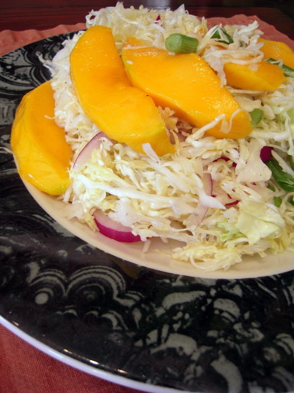 shredded cabbage and mango salad