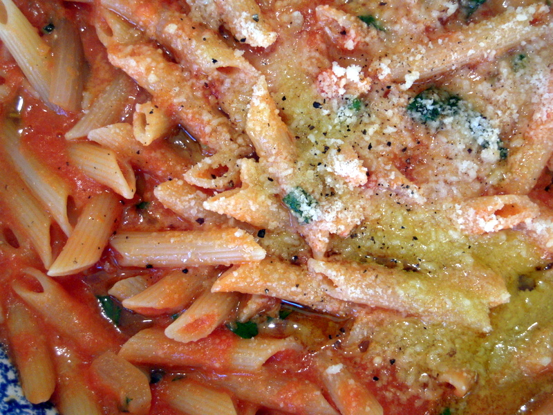 close up of finished penne alla Hangar 1