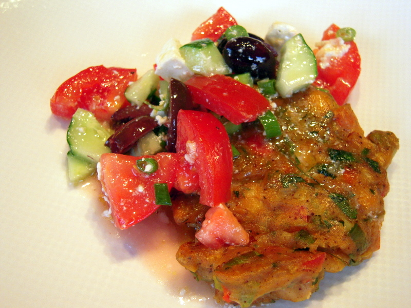 our version of chickpea croquette with Greek salad topping
