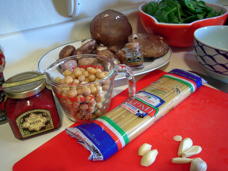 key ingredients for linguini with harissa, chick pea, mushroom and spinach