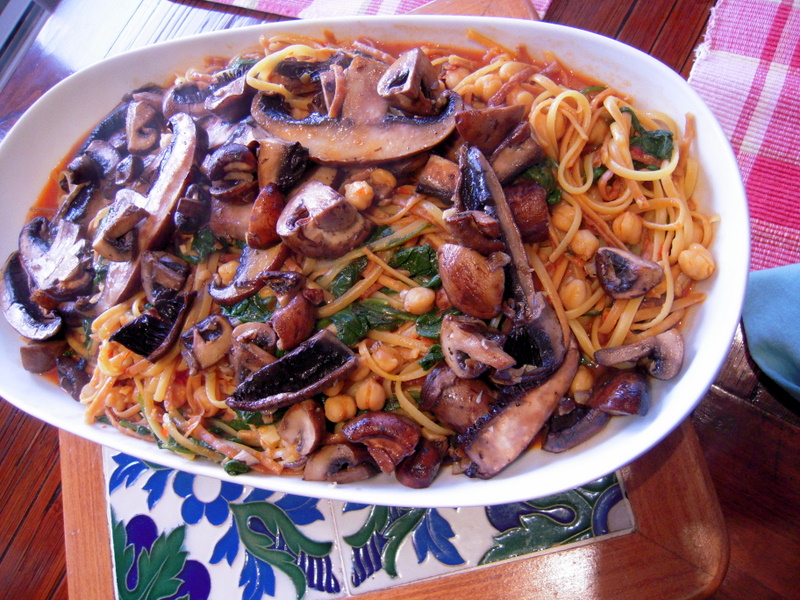 linguini with harissa, chick pea, mushroom and spinach