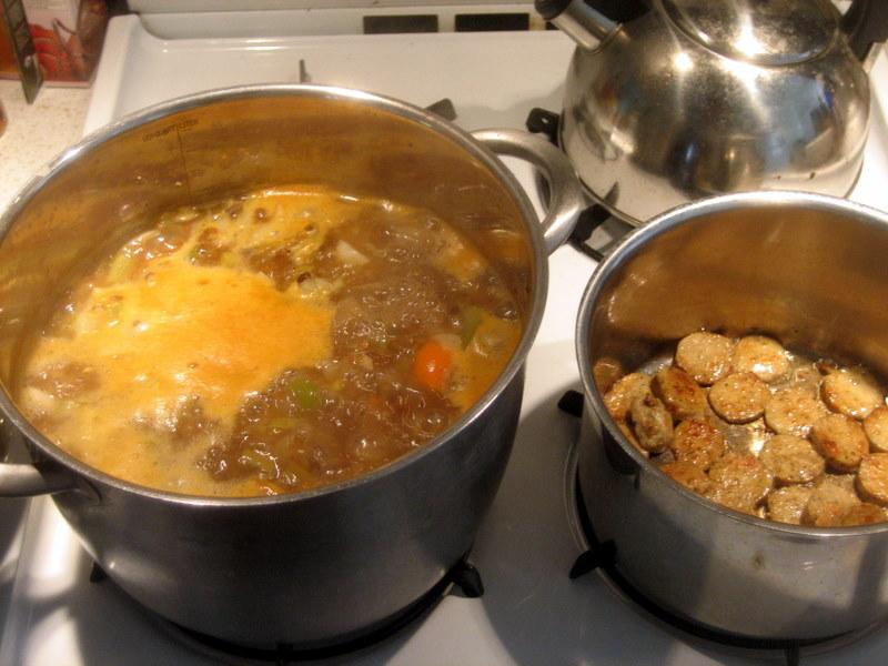 preparing veggie sausage and skinny soup