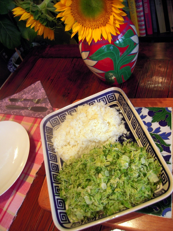 shaved brussel sprouts with white jasmine rice
