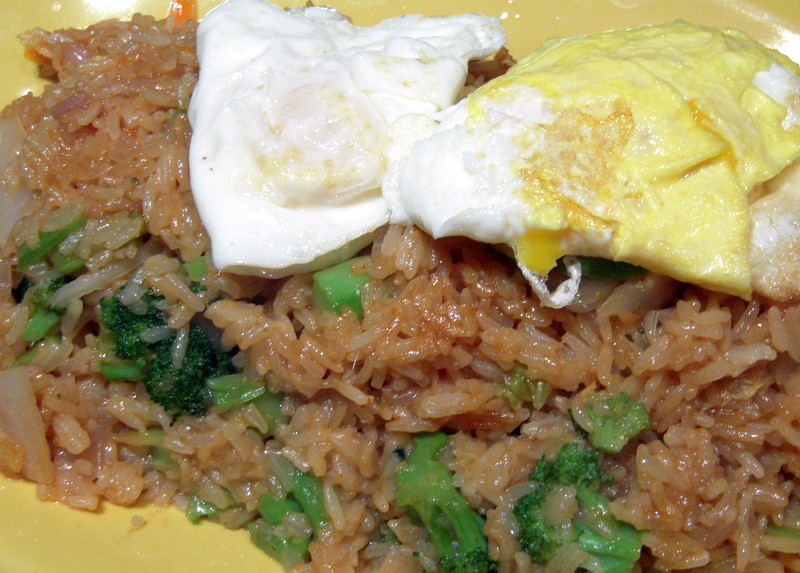 kimchi fried rice with optional fried egg