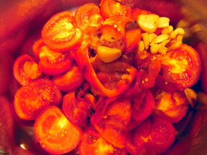 roasted tomatoes, peppers and garlic ready to become soup