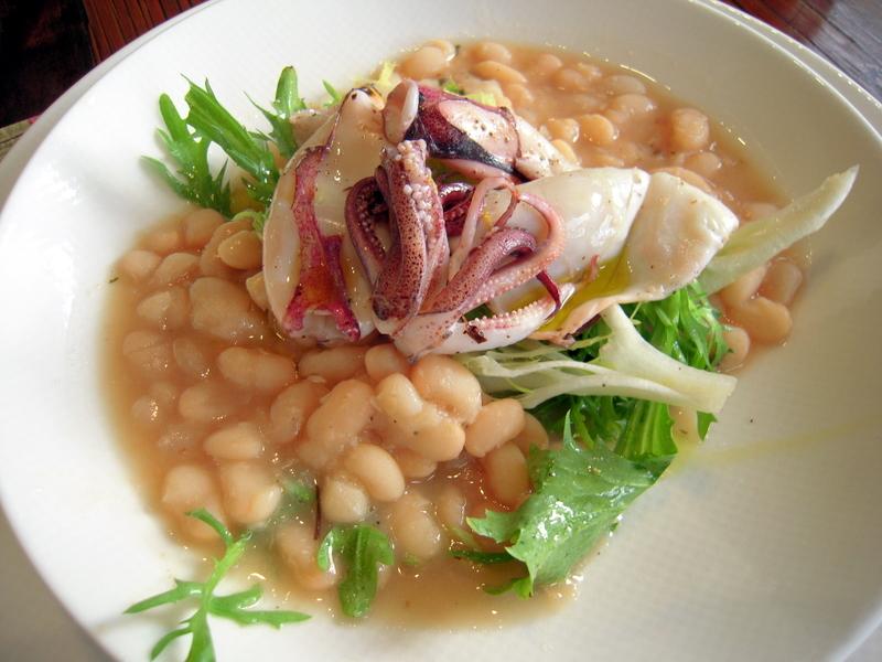 warm white bean frisée salad with grilled calamari