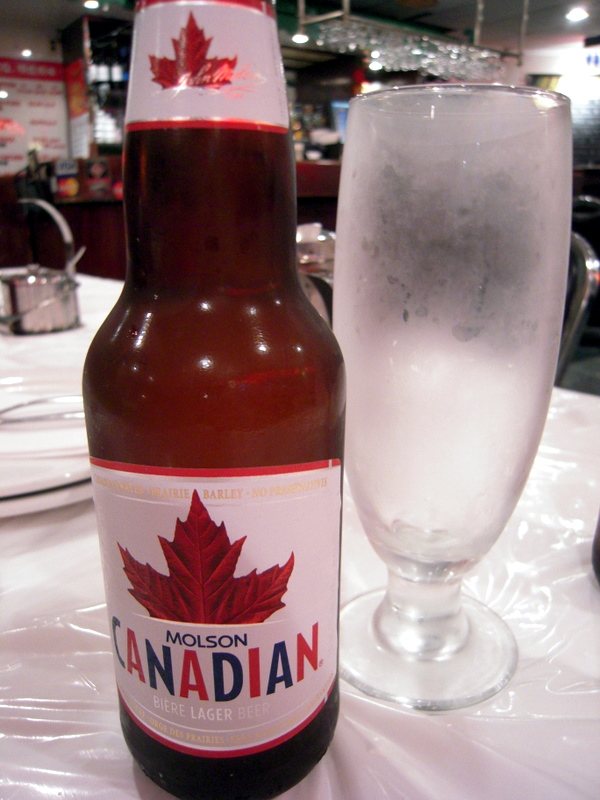 Molsen Canadian beer at Hong Shing