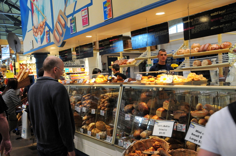 admiring bread at the St. Lawrence Market