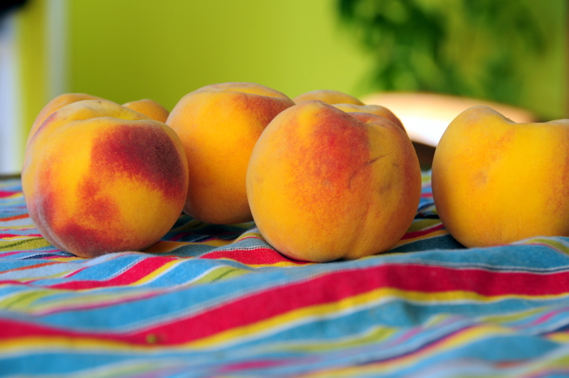beautiful and aromatic orange cling peaches