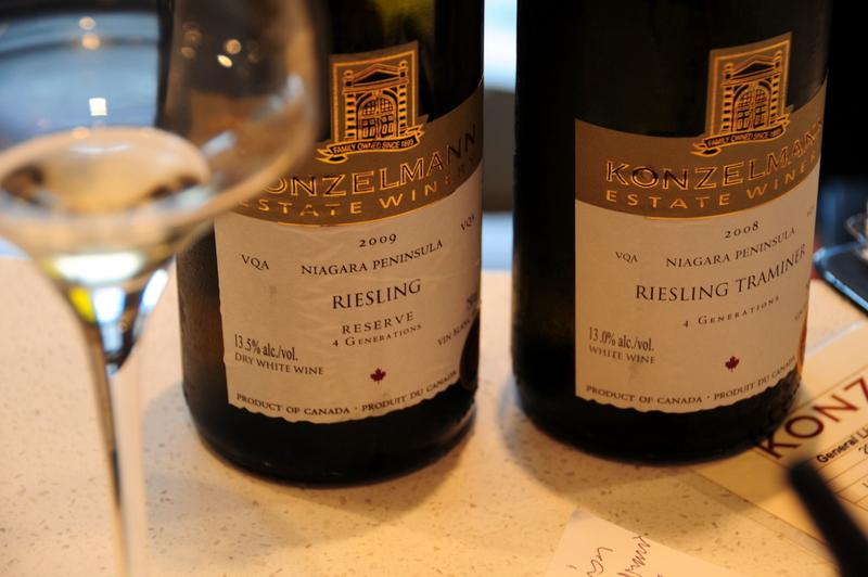 sampling Konzelmann Riesling and Riesling Traminer