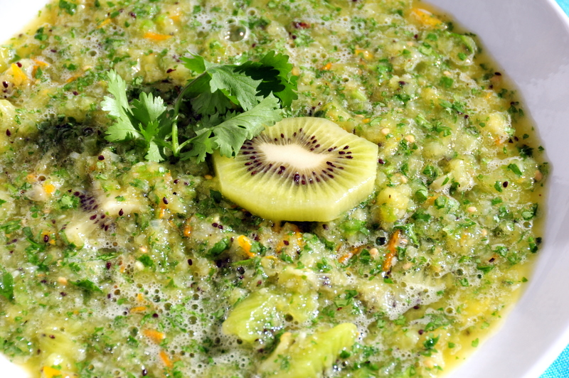 sweet and spicy kiwi and yellow cherry tomato salsa