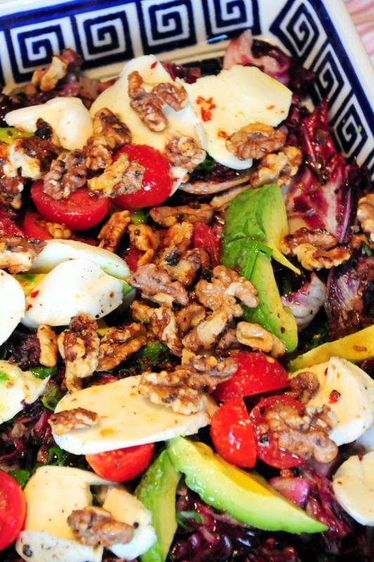 warm radicchio salad with mozzarella, candied walnuts and avocado
