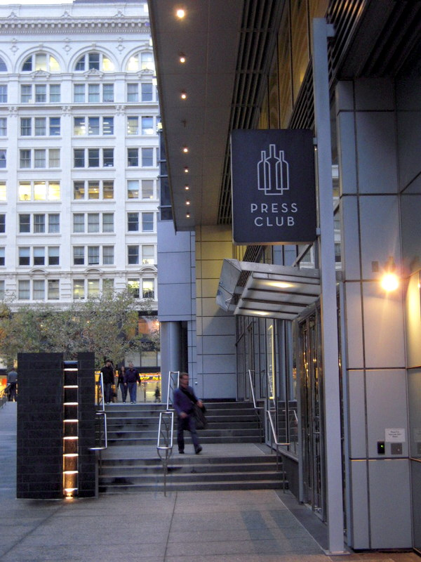 Press Club entrance is just south of Market Street in the Four Seasons building