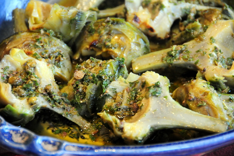 grilled artichokes with mint, caper and anchovy