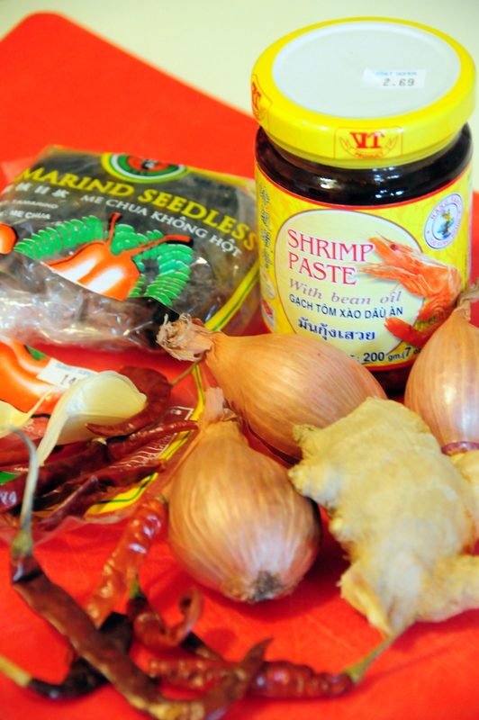 key ingredients for calamari and tiger prawns in Sambal sauce