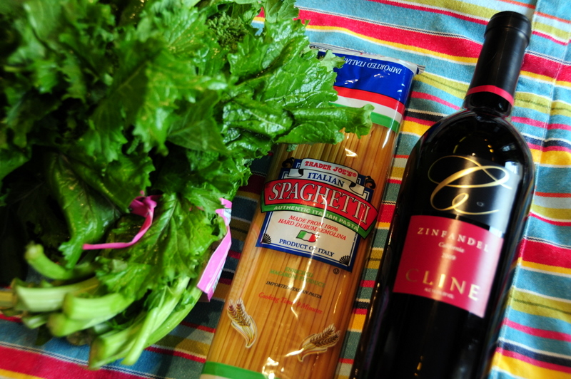 key ingredients for spaghetti in zinfandel sauce with broccoli rabe, garlic and chile