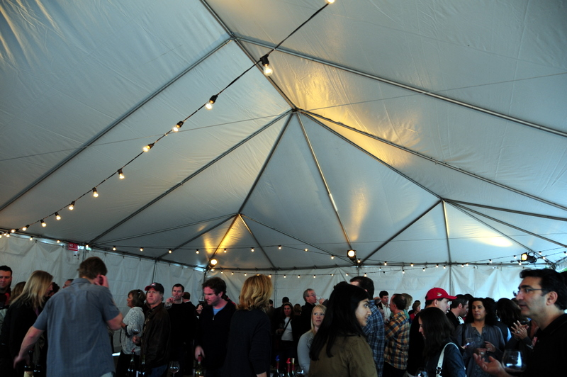 the tasting happened in two big tents despite the fabulous new building