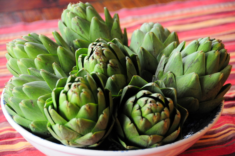 use your fresh artichokes as a table decoration before making them into a meal