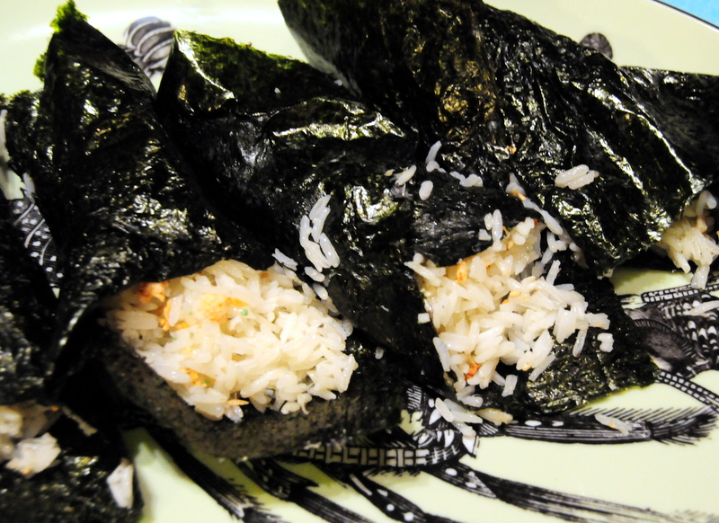 Thai jasmine rice cooked with codfish stock wrapped in nori