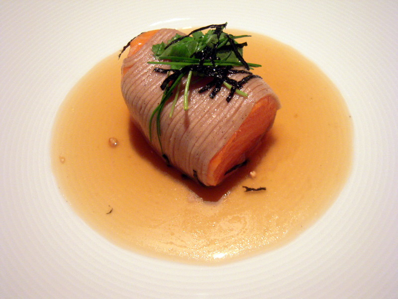 Tasmanian ocean trout with smoked soba noodles and mitsuba, oolong broth