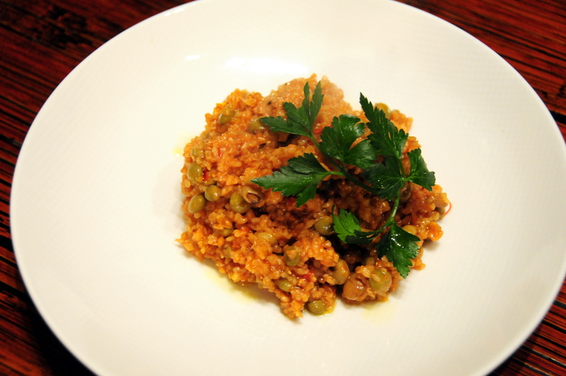 harrisa, pigeon pea and saffron studded bulgur