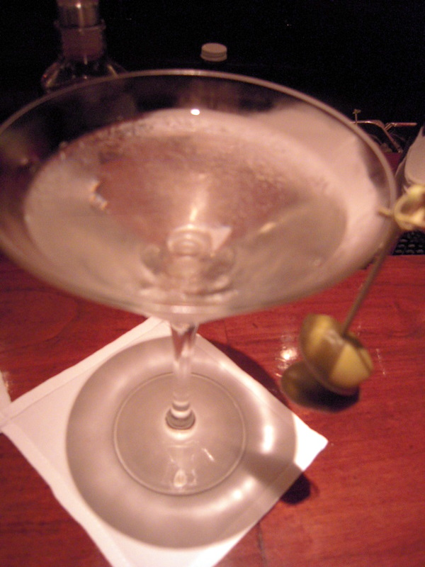 look how cute the green olives look dangling from the rim of the Cyrus Kettle 1 vodka martini!!