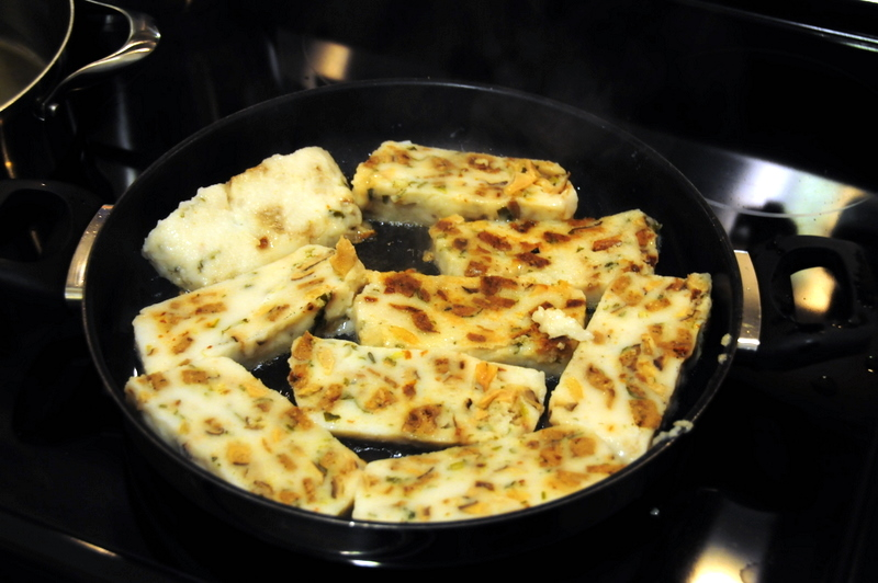pan-frying savory daikon rice cakes