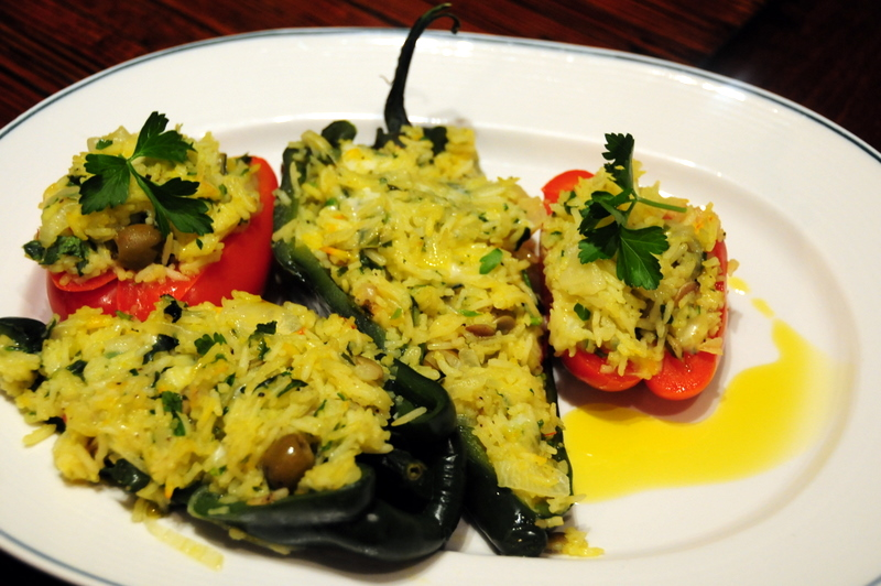 poblano and red bell peppers stuffed with saffron rice