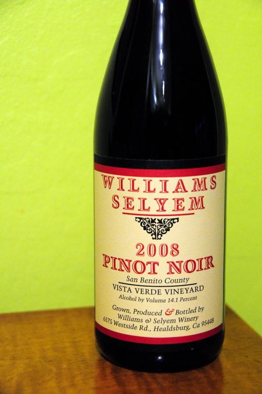 2008 Williams Selyem San Benito County Pinot Noir Vista Verde Vineyard