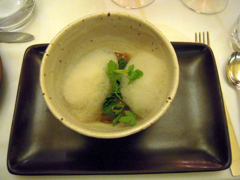 foamy savory wild mushroom porridge