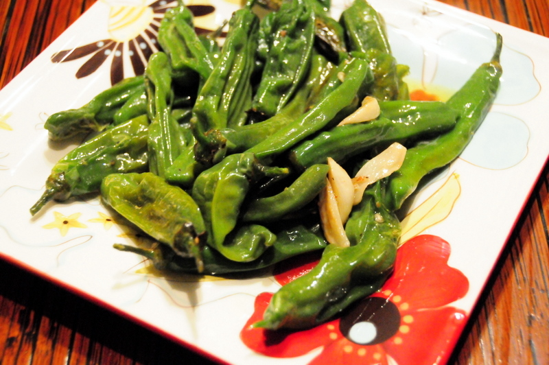 shishito peppers in olive oil and garlic